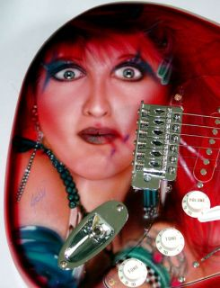 Cyndi Lauper Autographed Signed Airbrush Guitar Proof PSA DNA UACC RD