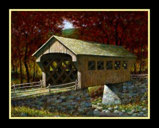 FRATRICH Original COVERED BRIDGE Oil Painting ** Landscape