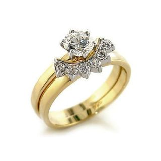 WOMENS ENGAGEMENT WEDDING SET CZ GOLD TONE RING SIZE 5 6 7 8 9 10