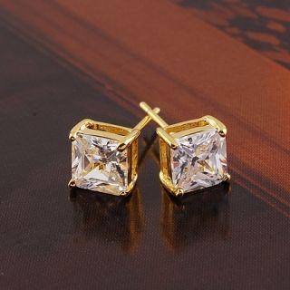 Charming Flawless CZ 9K Gold Filled Women Square Stud Earrings E089