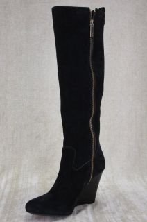 Tory Burch Dabney Daphney Black Suede Wedge Heels Tall Knee Boots 8