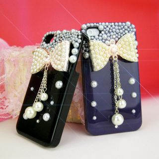 New Big Bow 3D Bling Diamond Peral Case Cover Skin Hard for iPhone 4