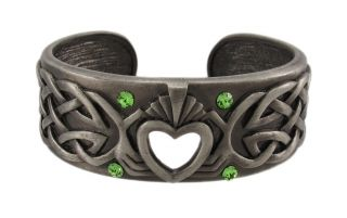 celtic knotwork claddagh cuff bracelet green stones
