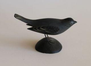 Miniature A. Elmer Crowell Blue Cat Bird Carving East Harwich MA Wood