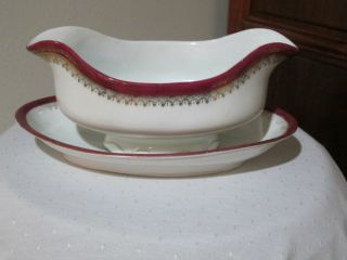 Imperial Crown China Austria Vintage Oval Gray Boat & Underplate Red