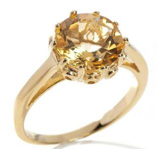 Technibond Citrine Royal Crown Set Ring 14k Gold Clad