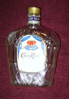 Crown Royal Canadian Whisky Bottle, EMPTY, Clear Glass