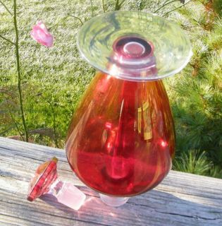 Antique Old Early 1900s Cranberry Ruby Art Glass 1 Quart Wine