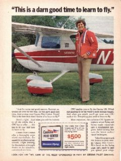 MEREDITH Vintage Orig Mag Ad NFL Dallas Cowboys Cessna Pilot Center