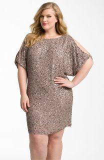 Aidan Mattox Sequin Cold Shoulder Dress (Plus)