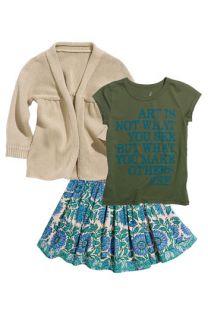 Peek Open Front Knit Cardigan, Screenprint Tee & Skirt (Little Girls & Big Girls)