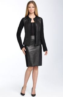 Ellen Tracy Knit & Leather Jacket & Skirt