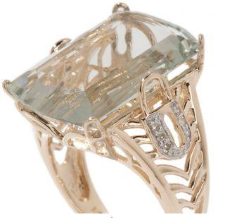 Gem Designs by Palermo 14k 7 09ct Prasiolite and Diamond Gold Key Ring