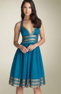 Adrianna Papell Sequin Grecian Halter Dress (Petite)