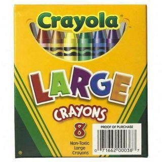 Large Big Crayola Classic Color Crayons 8 PK 2DayShip
