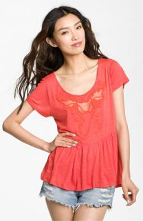 Free People Candy Crafty Embroidered Peplum Top