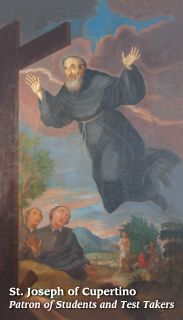 Colorful Saint St Joseph of Cupertino Holy Prayer Card Test Takers