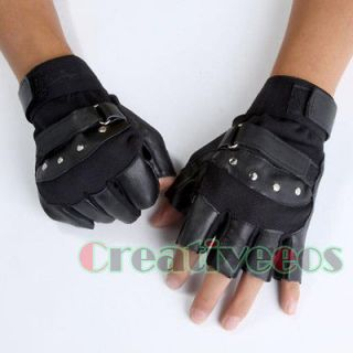 Mans Leather Driving Motorcycle Bike Cycling Sports Fingerless Gloves