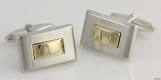 Modern Cufflinks   14k Polished Yellow Gold Sterling Silver Brushed