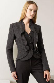 Armani Collezioni Ruffled Heathered Wool Jacket