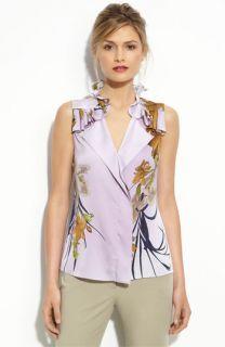 Elie Tahari Exclusive for  Estrella Hyacinth Print Blouse