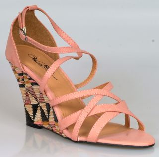 Womens Pink Mauve Wedges Platforms Shoes Strappy Dress Ladies Female