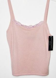 Dana Buchman PS Soft Pink Blush Cashmere Lace Sequin Trim Tank Top $