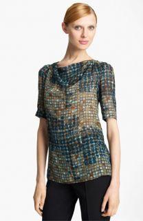 Piazza Sempione Geometric Print Silk Blouse