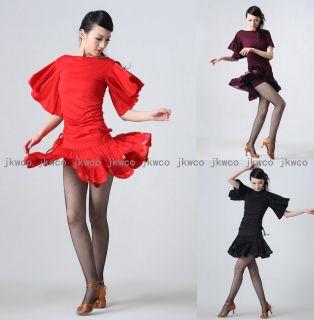 Latin Ballroom Dance Dress Top Skirt Set Salsa ChaCha Flouncing Dance