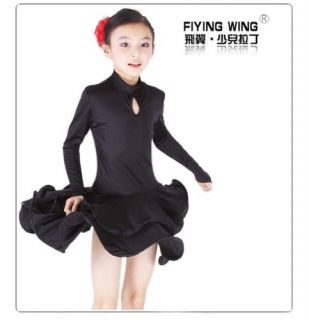 Childrens Latin Dress Girls Dancewear Costume 027BLACK