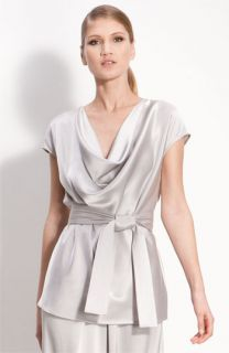 St. John Collection Cowl Neck Satin Blouse