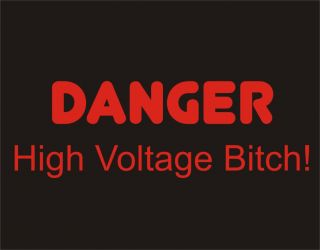 Danger High Voltage Bitch Rude Cool College Funny Tee