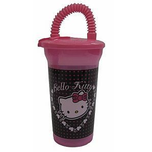 Hello Kitty Plastic Tumbler Cup with Lid and Straw