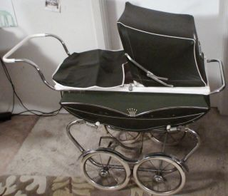 baby stroller carriage crib antique metal olive green kids toy vintage