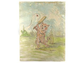 Louis Wain Cat Playing Cricket Watercolour