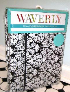 70 Rectangular Waverly Vinyl Tablecloth Black Damask Muse Onyx