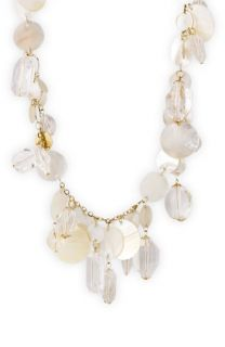 Sequin Long Shell & Crystal Charm Necklace