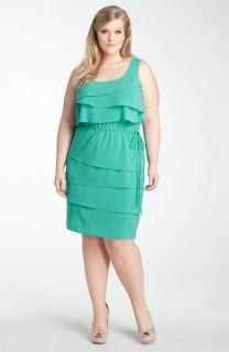 Calvin Klein Ruffle Front Sleeveless Dress (Plus)