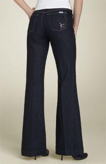 David Kahn Jeans Rhinestone K Flare Leg Stretch Jeans (Petite)