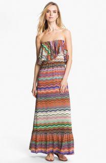 Tbags Los Angeles Ruffle Bodice Print Maxi Dress