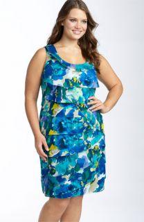 Calvin Klein Shutter Pleat Voile Dress (Plus)
