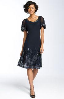 J Kara Flutter Sleeve Beaded Dress