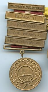 COAST GUARD GOOD CONDUCT MEDAL w/FOUR BARS   NAMED 1942 CURTIS BAY
