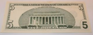 1999 u s five 5 dollar bill star note currency