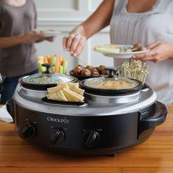 Crock Pot Triple Dipper 3 Quart Food Warmer Stainless Steel SCRTD300