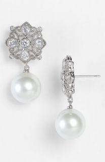 CZ by Kenneth Jay Lane Glass Pearl & Medallion Drop Earrings