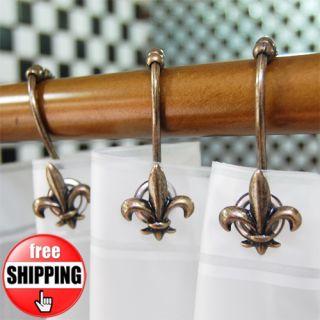 Bronze Anchor Shower Bath Curtain Rings Hooks Anti Rust Alloy