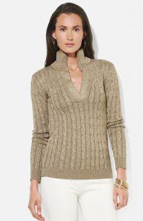 Lauren Ralph Lauren Shimmer Cable Knit Sweater