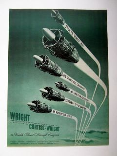 Curtiss Wright J65 Turbojet Aircraft Jet Engine 1951 print Ad