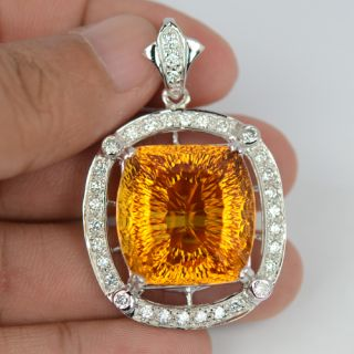 Yellow Citrine White Sapphire Sterling Silver 925 Pendant